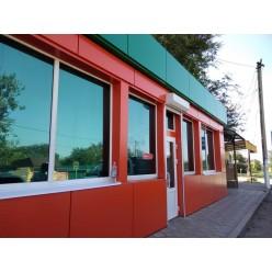 Оформление фасада композитными панелями и рекламное оформление
